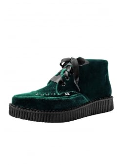 Emerald Velvet Pointed Vegan Creeper Boot