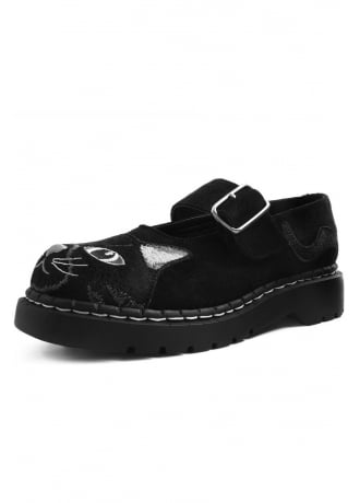 TUK Shoes Faux Suede Embroidered Kitty Anarchic Mary Jane