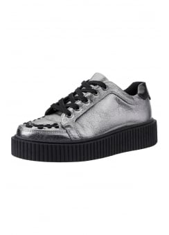 Graphite Leather Interlace Casbah Creeper