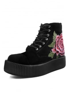 Rose Embroidered Velvet Mondo Boot