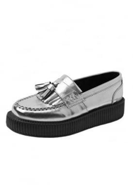 Silver Metallic Tassle Loafer Viva Lo Creeper