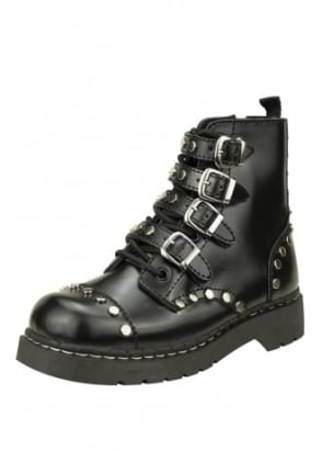 Studded Leather Anarchic 7 Eye Buckle Boot