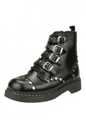Studded Leather Anarchic 7 Eye Buckle Boot