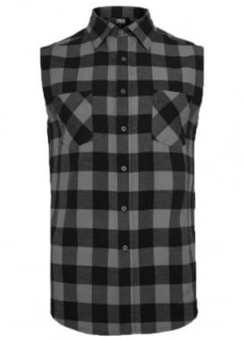 Black Charcoal Sleeveless Checked Flannel Shirt