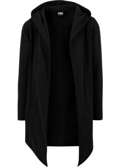 Black Open Edge Hooded Long Cardigan