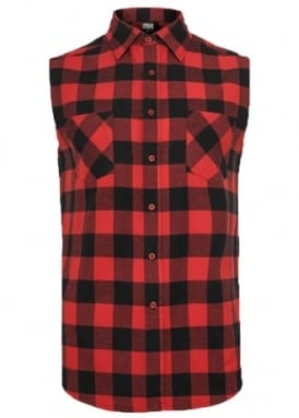 Black Red Sleeveless Checked Flannel Shirt