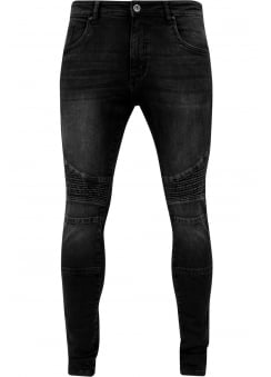 Black Washed Slim Fit Biker Jeans