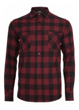 Burgundy Black Checked Flannel Shirt