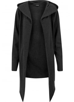 Charcoal Open Edge Hooded Long Cardigan
