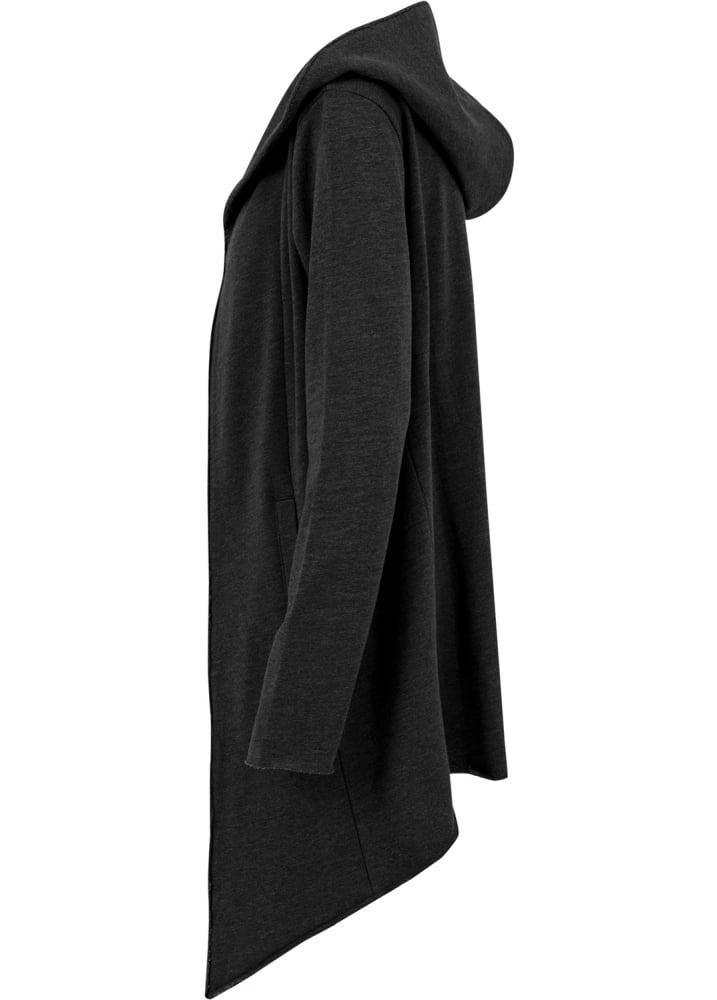 1bfa44d6b Charcoal Open Edge Hooded Long Cardigan