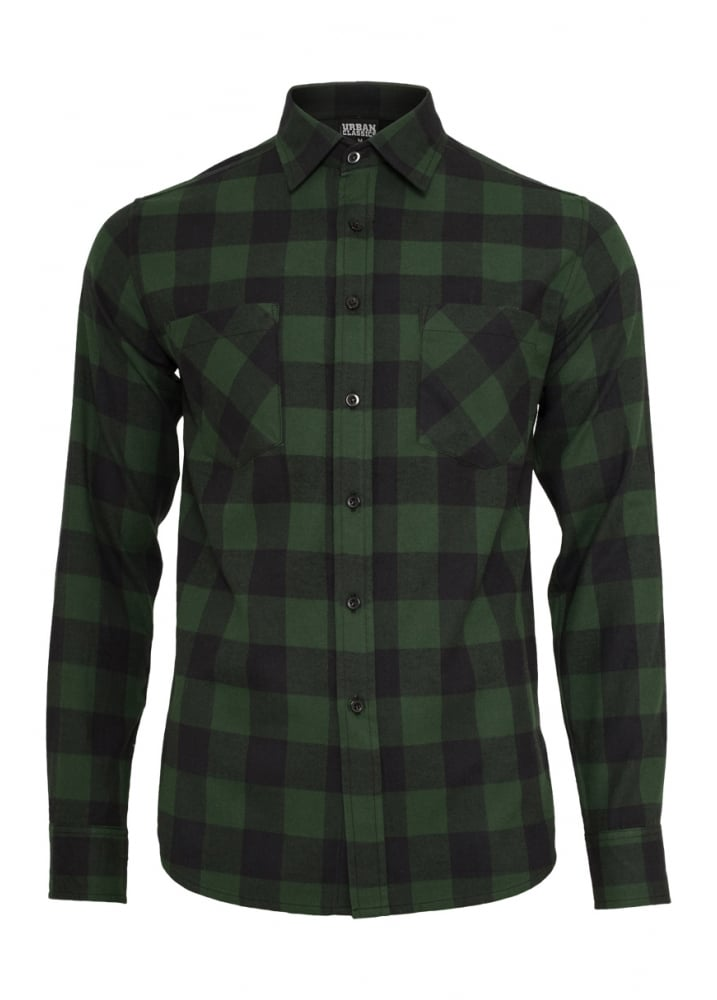 792dfdf1f7a Urban Classics Forest Green Checked Flannel Shirt