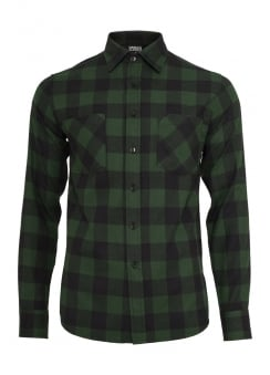 Forest Green Checked Flannel Shirt