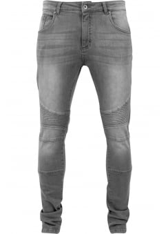 Grey Slim Fit Biker Jeans