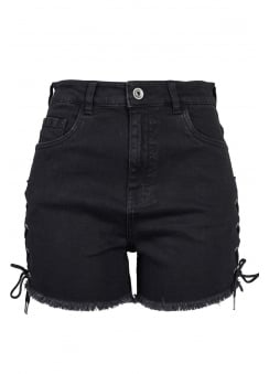 High Waist Denim Lace Up Shorts