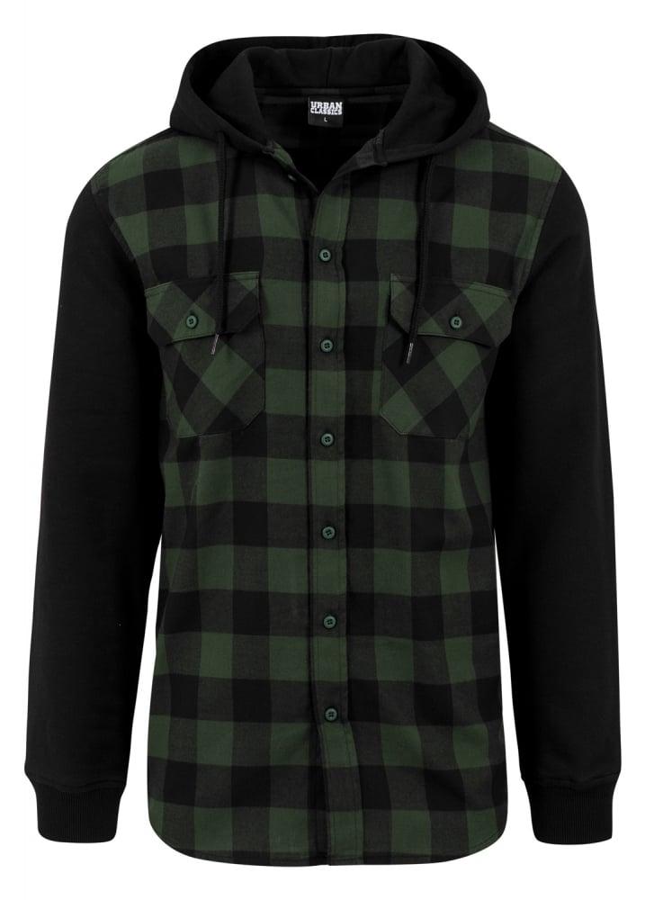 Urban Classics Hooded Checked Flannel Shirt Attitude