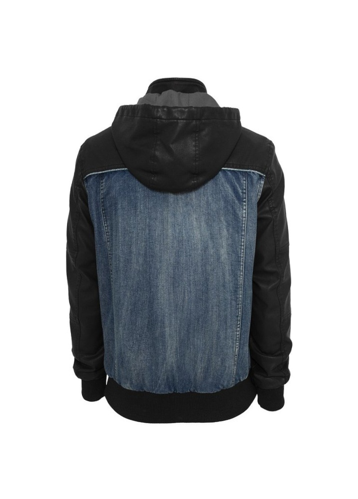 urban classics hooded denim faux leather jacket attitude clothing. Black Bedroom Furniture Sets. Home Design Ideas