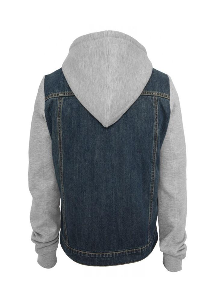 urban classics hooded denim fleece jacket attitude clothing. Black Bedroom Furniture Sets. Home Design Ideas