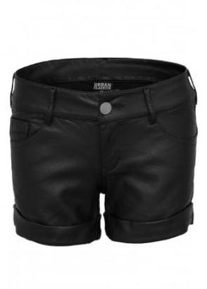Imitation Leather Hot Shorts