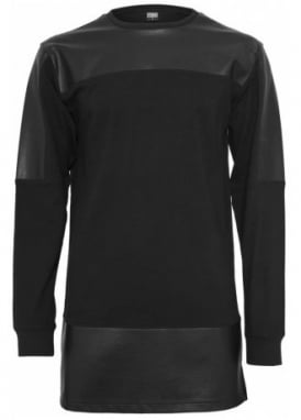 Leather Imitation Block Long Sleeve Top