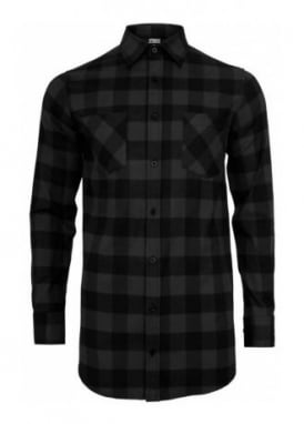 Long Checked Flannel Shirt