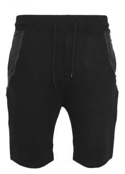 Side-Zip Leather Imitation Sweatshorts