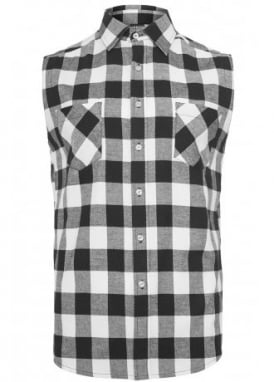 Sleeveless Checked Flannel Shirt
