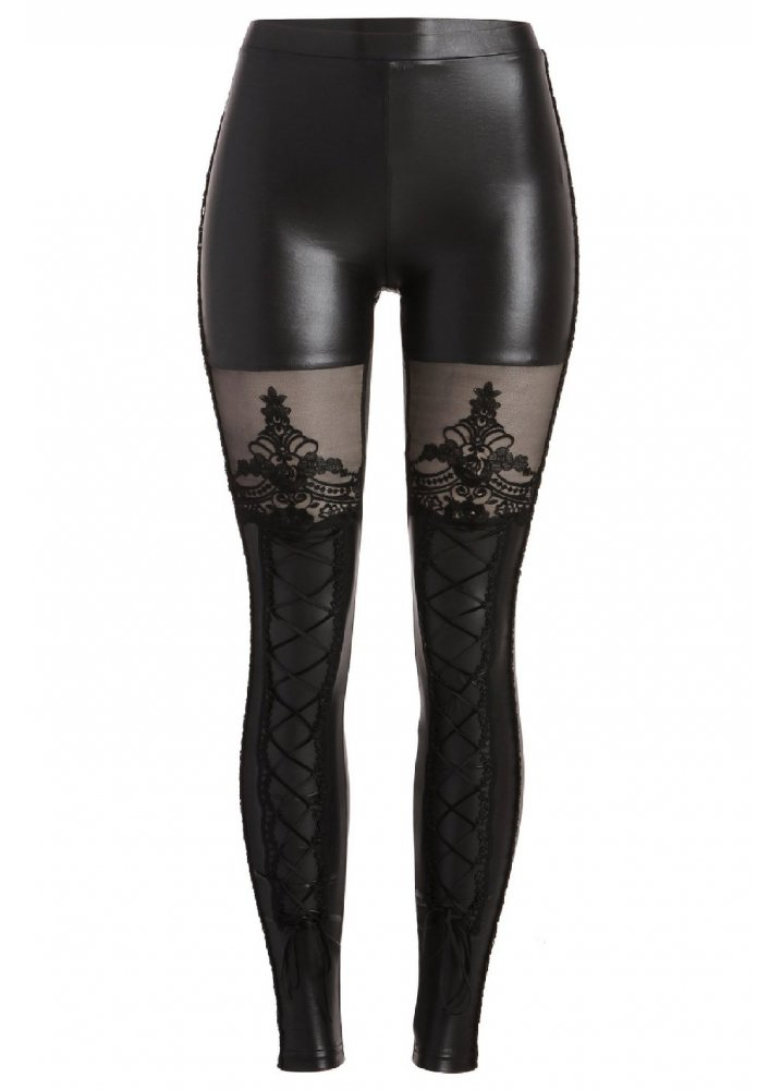 Victorian Gothic Lace Up Leggings Attitude Clothing