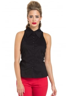 Jasmine Black Retro Sleeveless Shirt