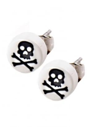 White & Black Skull & Crossbone Stud Earrings