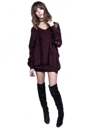 Burgundy Project X Drop Needle Oversized Sweater