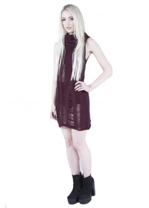 Burgundy Propaganda Sleeveless Dress
