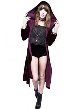 Burgundy Spectre Love Velvet Hooded Long Jacket