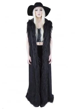 Faux Fur & Faux Suede Toggles Long Coat