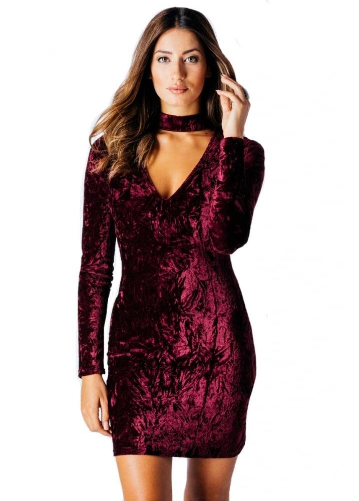 Wine Crushed Velvet Choker V Neck Bodycon Dress Attitude